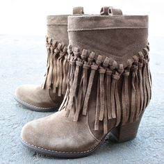 sbicca vintage collection sound fringe bootie in khaki