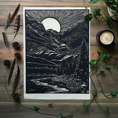 The Mountain's River Bank (Limited Edition) — Rise + Wander Linocut Prints, Art Prints, Block Prints, Lino Art, Linoprint, Woodblock Print, Art Inspo, Art Reference, Illustrations