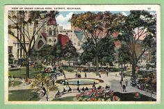 View of Grand Circus Park, Detroit, Michigan postcard