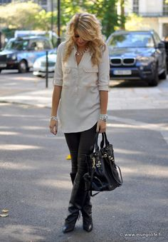 oversized white/cream shirt with gray leggings and heel boots