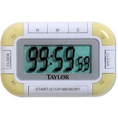 This Taylor timer / clock 5862 is unique and unlike any other timer on the market. The timer has 4 functional timers simultaneously going at once. The Taylor digital clock and timer, has a large LCD readout. 24 Hour Clock, Baking Supply Store, Timer Clock, Kitchen Timers, Digital Timer, Different Tones, Baking With Kids, Digital Alarm Clock, Kids House