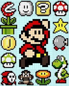 Mario Bros x-stitch Mario Crochet, Pixel Crochet, Crochet Chart, 8 Bit Crochet, Cross Stitching, Cross Stitch Embroidery, Cross Stitch Patterns, Hama Beads Patterns, Beading Patterns