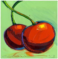 Cherries for Life 12X12 Modern Fine by AllanChow, $240.00