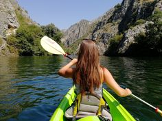 If you are spending a few days in Skopje, visiting Canyon Matka is also a must! You can take a walk along the rock walls to the sma. Double Kayak, Kayak Rentals, Small Boats, Macedonia, Early Morning, The Rock, Kayaking, Garden Tools, Cruise