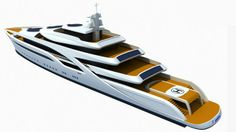 Quality 3d model of concept luxury super yacht. Previews rendered with V-Ray.