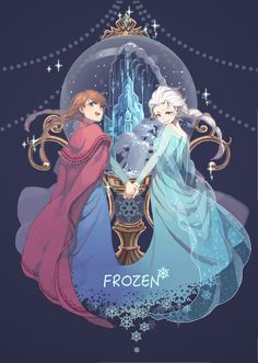 Anna and Elsa [Frozen] (Anime) Disney Pixar, Arte Disney, Frozen Disney, Disney Films, Disney Fan Art, Disney And Dreamworks, Disney Animation, Disney Magic, Disney Characters