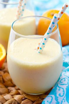 This Orange Colada Smoothie tastes just like an Orange Julius, but it's good for you! A perfect afternoon snack or dessert!