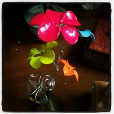#DIYproject complete! Tutorial from @pintercraft blog. Wire + nail polish neon flowers #kawaii