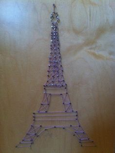 Diy Eiffel Tower nail and string art