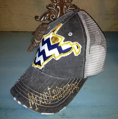I TOTALLY NEED THIS HAT!!!! West Virginia Mountaineers WVU State Baseball Bling by chasingelly, $36.00
