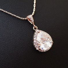 Rose Gold plated Lux Cubic Zirconia Halo Style Bridal Necklace