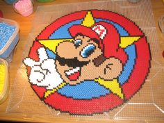 Super Mario perler beads but would make for an awesome crochet blanket!