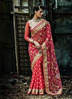 Pink Embroidered Half N Half Saree