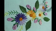 Lazy daisy stitch for beautiful flower design making   Hand embroidery designs - YouTube