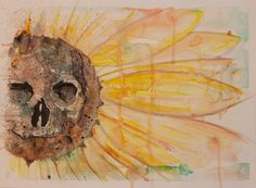 Cool water color painting of a sunflower with a skull blended in. Cheapest price on etsy