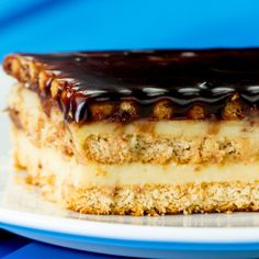 """The finest homemade cake, ready in record time - """"Ecler"""" cake without baking Eclairs, Food Cakes, Pudding Vanille, Biscuits Croustillants, Romanian Desserts, No Cook Desserts, Flan, Vanilla Flavoring, Pastries"""