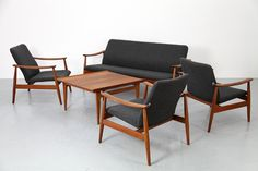 Finn Juhl Living Room Suite by Fance & Søn, 1961 - this is so unbelievably stylish 60s Furniture, Danish Modern Furniture, Midcentury Modern, Furniture Design, Living Spaces, Living Room, Mid Century Modern Design, Clean Lines, Home Deco
