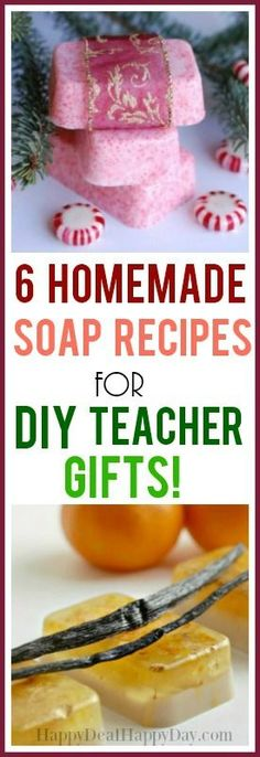 6 homemade soap recipes for diy teacher gift ideas! This is a great resource for… 6 homemade soap recipes for diy teacher gift ideas! This is a great resource for end of the year teacher DIY gift ideas! Christmas Soap, Homemade Christmas Gifts, Homemade Gifts, Diy Gifts, Homemade Teacher Gifts, Christmas Carol, Homemade Beauty, Handmade Christmas, Melt And Pour