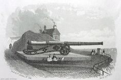 Victorian steel vignette engraving of Queen Elizabeth's Pocket Pistol, Dover Castle, Kent, England, UK. 24-foot basilisk (bronze cannon) built 1544 by Jan Tolhuys (Utrecht, Netherlands). 4.75 inch calibre. Given to Henry VIII by Maximilian of Egmont. 1827 carriage made from French guns captured Waterloo 1815. Ex-Queen Anne's Pocket Pistol. Now in Regimental Institute (Naafi Restaurant). Listed Building, English Heritage site. Artillery and History. See: http://www.panoramio.com/photo/54982085