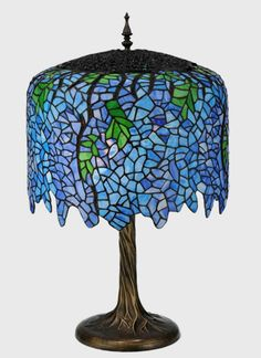 Tiffany Stained Glass Wisteria Table Lamp 28 inches Tall - US $649.00 in Pottery & Glass, Glass, Art Glass