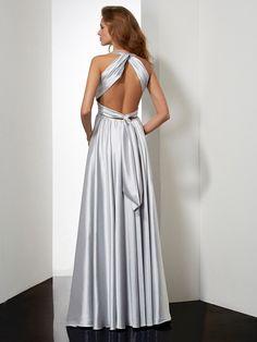 Sheath/Column Halter Sleeveless Pleats Long Elastic Woven Satin Dresses - Hebeos Online