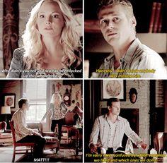 "Get it straight, Matty Blue Blue! :) - ""The Vampire Diaries"" - Caroline (Candice Accola) and Matt (Zach Roerig)"