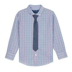 bluezoo Boy's blue checked shirt and tie set- at Debenhams.com