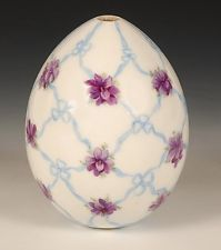 Antique Russian Porcelain Easter Egg Decorated with Pink Flowers and Blue Ribbon