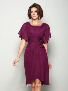 A-Line Princess Square Hand-Made Flower Short Sleeves Short Chiffon Mother  of the Bride Dresses. Plus Size ... cc11e17cafc6