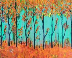 SONG of INDIAN SUMMER  Large Abstract Tree Art Original Landscape Painting  by treasurechest for $175.00