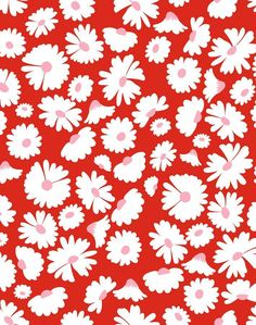 'Pop Daisy' Wallpaper by Wallshoppe - Red - Removable Panel