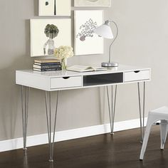 Constructed from high-grade MDF with a beautiful painted finish and supported by chrome steel hairpin legs, this desk features a color accented storage cabinet and pull out drawers for a stylish look that adds the perfect pop of color to your living area. Home Office Desks, Home Office Furniture, Office Decor, Office Items, Modern Furniture, Furniture Design, Wood Computer Desk, Grey Desk, Best Desk