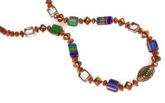 Brown Blue Green Clear Statement Necklace Czech by BohemStyle