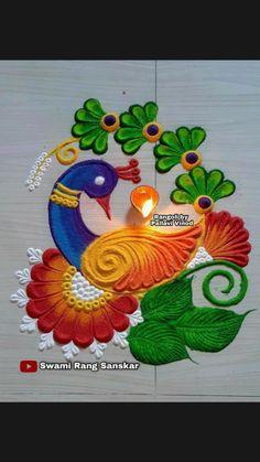 Rangoli Designs Peacock, Easy Rangoli Designs Diwali, Rangoli Designs Latest, Simple Rangoli Designs Images, Free Hand Rangoli Design, Small Rangoli Design, Rangoli Border Designs, Rangoli Ideas, Rangoli Designs With Dots