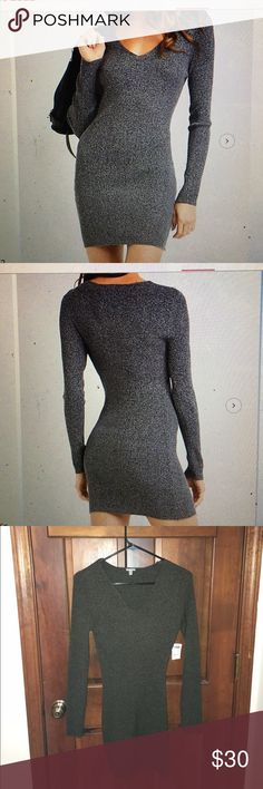*NWT* dark gray v-neck sweater dress Never been worn sweater dress size medium and not too tight around the arms. Fit to size! Charlotte Russe Dresses Long Sleeve