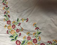 Hungarian Hand embroidered Kalocsa table by SandrasCornerStore
