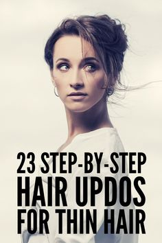 Quick & Elegant: 23 Step-by-Step Updos for Thin Hair - - Attention fine haired gals! Whether you have short, shoulder length, or long hair, we've curated 23 step-by-step updos for thin hair you'll love. Medium Thin Hair, Updos For Medium Length Hair, Up Dos For Medium Hair, Medium Hair Styles, Short Hair Styles, Medium Long, Casual Updos For Medium Hair, Casual Updos For Long Hair, Fine Hair Updo