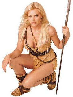 Gena Lee Nolin in beautiful jungle queen costume fashion model.