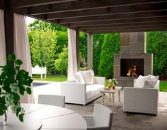 Suzie: House Beautiful - Outdoor living space and covered deck patio! white outdoor sofas, ...
