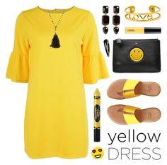 """In La La Land: Yellow Dresses"" by lgb321 ❤ liked on Polyvore featuring Anya Hindmarch, André Assous, Bing Bang, M.A.C, Bavna, Loren Hope, yellow, yellowandblack, yellowdress and polyvoreeditorial"