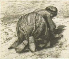 Vincent van Gogh - Peasant Woman Kneeling, Seen From Back '85