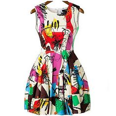 Women's+Casual+/+Print+Print+Skater+Dress+,+Round+Neck+Above+Knee+Polyester+/+Chiffon+–+USD+$+6.29