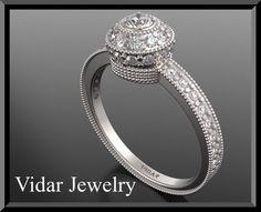 14k White gold Diamond Engagement Ring,Halo Engagement Ring,UNIQUE Engagement Ring,Pave Ring,Weddings Ring,Luxury Ring,Brides,Filigree Ring by Vidarjewelry on Etsy https://www.etsy.com/au/listing/111687900/14k-white-gold-diamond-engagement