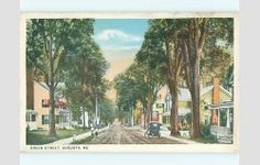 Unused W-Border OLD CARS & HOUSES ON GREEN STREET Augusta Maine ME v3648