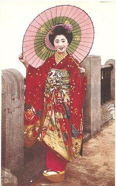 Momotaro in red kimono, via Flickr. 1920's