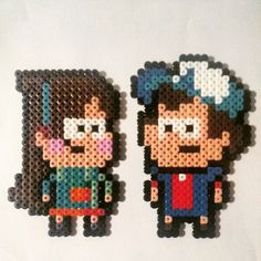 Mabel and Dipper Pines - Gravity Falls perler beads by Silverdroid