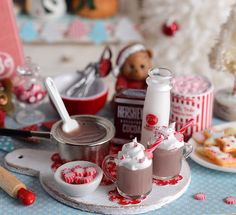 RESERVED-Miniature Christmas Hot Cocoa Set by CuteinMiniature
