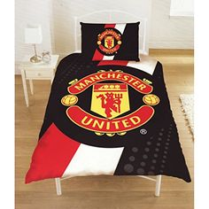 Kids' Duvet Covers - Manchester United Football Club Official Striped Single Duvet Cover Bedding Set Twin Bed RedBlackWhite *** Visit the image link more details.