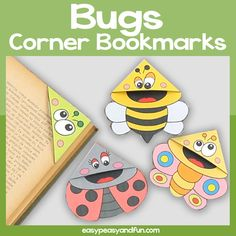 Bugs Corner Bookmark Craft Template – Easy Peasy and Fun Membership Bug Crafts, Crafts For Kids, Firefighter Mask, Snow Globe Crafts, Butterfly Coloring Page, Bookmark Craft, Mask Template, Corner Bookmarks, Book Markers
