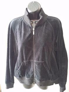 FUDA Women Zip-front black Fleece Track Yoga Sweat Jacket sz L  #FUDA #TrackJacket